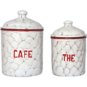 Red Chicken Wire Enamel Canisters - Coffee and Tea