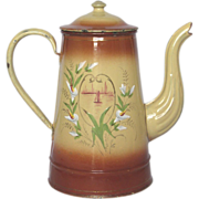 SALE Splendid Hand-Painted French Enamel Coffee Pot