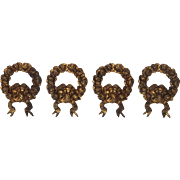French Gilt Metal Nail Hook Coverings -Rose Wreath