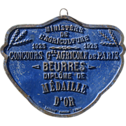 SOLD French Gold Medal Award Plaque for Butter - 1925