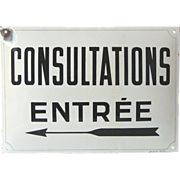 Very Vintage French Enamel Plaque - CONSULTATIONS