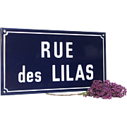 French Enamel Street Sign - Road of Lilacs