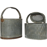 French Zinc Fishing Containers - Bait Buckets