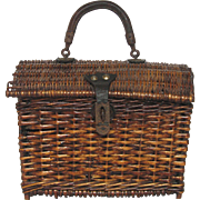 French Wicker Hand Basket - Leather Handle - early 1900s