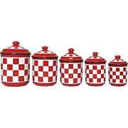 Red & White Checkerboard Pattern French Enamel Graniteware Canisters
