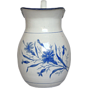Early 1900s French Enamel Graniteware Pitcher - Blue Floral Decor