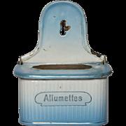 Vintage French Enamel Blue Shaded Graniteware Match Holder