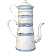 SOLD Enamel Coffee Pot Biggin -  Blue Banded Etoile P.E.N - early 1900s