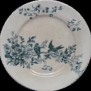 Late 1800s French Transferware Porcelain Raised Dessert Serving Dish - Birds and Raspberries