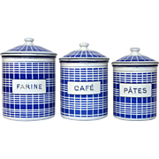 Trio of French Blue Check Enamel Graniteware Canister - NEAR MINT Condition