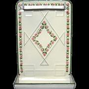 SOLD Art Deco Pink Rose French Enamel Graniteware Utensil Rack