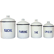 French Enamel Graniteware Canister Set - Early 1900s