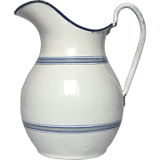 French Enamel Graniteware Pitcher - Early 1900s