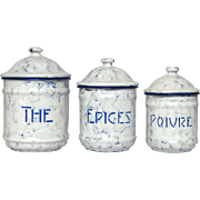 NEAR MINT Trio of French Enamel SoTM Graniteware Canisters