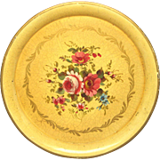 French Hand-Painted Floral Toleware Tray - Tin Platter
