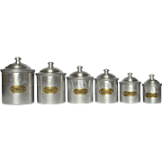Complete Set of Six French Aluminum Kitchen Canisters