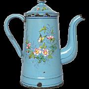Hand-Painted Enamel Graniteware Coffee Pot - Bird & Butterflies