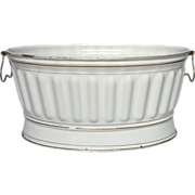 SOLD RESERVED : Antique Graniteware French Enamel Jardiniere - Basin - Tub