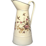 SOLD STUNNING French Hand-Painted Floral XL Pitcher - Near Mint