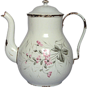 Hand-Painted Floral French Enamel Graniteware Coffee Pot
