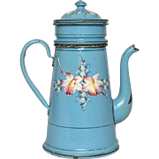 Gorgeous Hand-Painted Floral French Enamelware Drip Coffee Pot