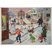 SOLD Vintage French School Poster - Snow Day and Post Office