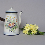 SALE French Floral Japy Freres Coffee Server - 1920 - Blue Shading
