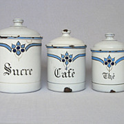 Set of Three French Enamelware Art-Deco Canisters