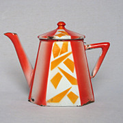 REDUCED Art Deco Octagonally Shaped Enamelware Teapot - AUBECQ