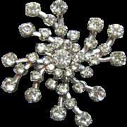 Vibrant Vintage Pinwheel or Snowflake Prongset Rhinestone Brooch