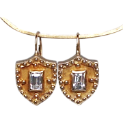 Gold plated silver medieval heraldic shield zircon earrings gold ear wire