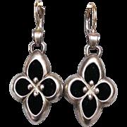 Sterling silver black velvet flower earrings 14K gold ear wire