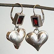 Sterling silver heart  garnet  earrings gold ear wire