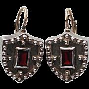 Shield silver earrings purple garnet stone gold clasp
