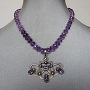 Heraldic hearts shield silver amethyst pendant violet amethyst necklace.