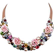 Pink fabric roses Swarovski crystal bead necklace couture leather choker