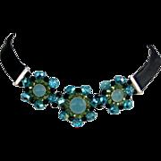 Black leather choker aquamarine crystal flower silver triple pendants