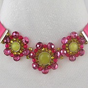 Pink leather choker, crystal, silver artisan jewelry. Designer bold necklace for upscale fashi