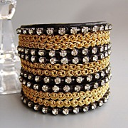Bold leather Swarovski bracelet design. Ethnic and glamour jewelry style.
