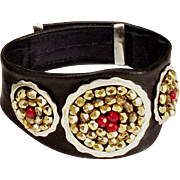 Leather cuff bracelet silver rings Czech beads, in vogue contemporary jewelry.