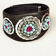 Bold Leather cuff. Contemporary jewelry design. Upscale bracelet.