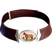 Old America prairie horse cameo sterling silver pendant couture leather choker