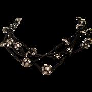 Swarovski crystal rhinestones on black leather strings necklace