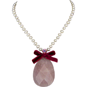 Raindrop rose quartz stone cultured freshwater pearls Swarovski high end jewelry design