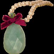 Green icy calcite stone Swarovski crystal pearl necklace upscale fashion jewelry design