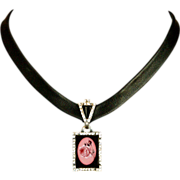 Pink rose cameo rhinestones silver pendant on tailored leather necklace