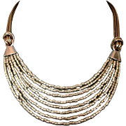 SOLD Silver tone glass beads leather necklace ancient Egypt jewelry design