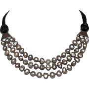 SOLD Three strand silvery gray freshwater pearls leather necklace silver clasp