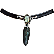 Couture jewelry leather choker Swarovski labradorite silver pendant