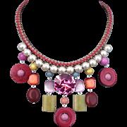 Bib necklace leather braid crystal beads bold jewelry
